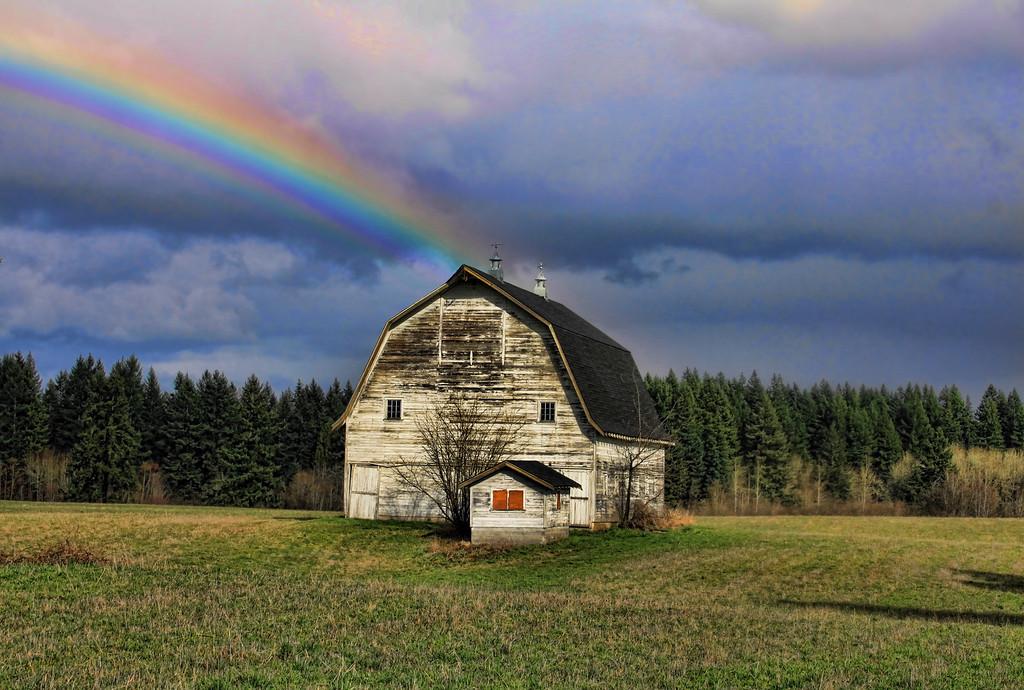 Country Barn with Rainbow