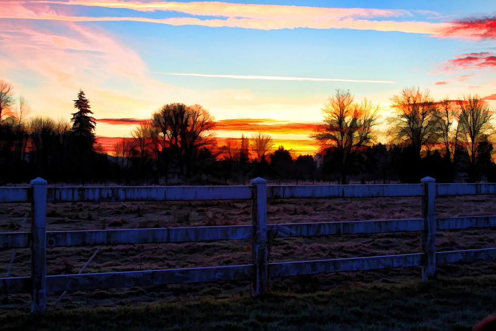 Sunrise white fence