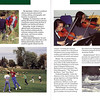Hebron viewbook inside spread. Multiple varnish effects have faded over time, but the name is varnished in the green header and there are a series of lines below the page number that then went across to the center below the pictures.