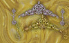 The two versions of the Kenya Tiara and Earrings in Platinum or Yellow Gold both with pink gold and white diamonds with pink heart shaped diamonds