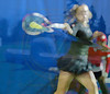 HKG0 20110105 HONG KONG, HONG KONG : Caroline Wozniacki, World #1 from Denmark and of Team Europe shown in her match against  Li Na, of China and Team Asia Pacific, where Cathay Pacific Airways is sponsoring the Hong Kong Tennis Classic 2011-World Team Challenge, at Victoria Park in Hong Kong on Wednesday, 05 January, 2011. Wozniacki won the match 6-4, 6-3.