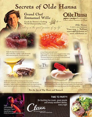 Olde Hansa ja Clazz restoranide reklaam Baltic Guide'i, 2013
