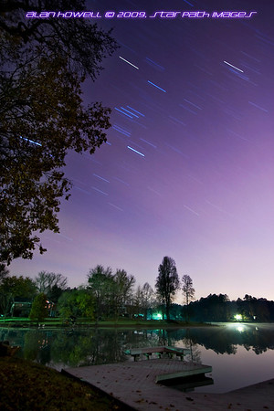 Star Trails of Orion over Lake