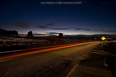 Nighttime traffic through Monument Valley