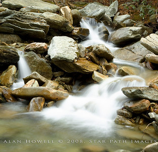 An ethereal cascading waterfall on the Blue Ridge Parkway, located near Grandfather Mountain in NC.