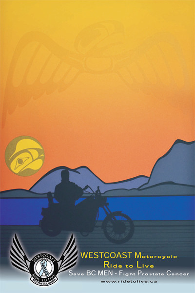 """BC/Canadian Artist Roy Henry Vickers Supports the Ride to Live Famous print """"West Coast Rider"""" Ride to Live Poster Logo & Graphics By Roy Henry Vickers www.royhenryvickers.com"""