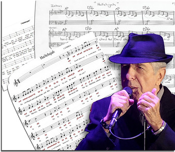 "Singer/songwriter/poet Leonard Cohen with sheet music of his classic, ""Hallelujah."" A photo illustration for Alabama Media Group. (The Birmingham News, The Huntsville Times and Press-Register of Mobile.)"