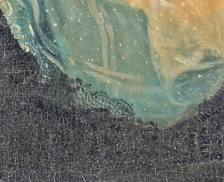 (Fig. 12) Several graphic caricatures and Goya's name are integrated into the black lace. A woman in profile can be seen looking at a man wearing a hat. The edges of this painting may have been cleaned in the past. The lace on the left margin of the painting is white and the dress is blue. The adjacent color in the dress  is  a greenish yellow which could be discolored varnish.