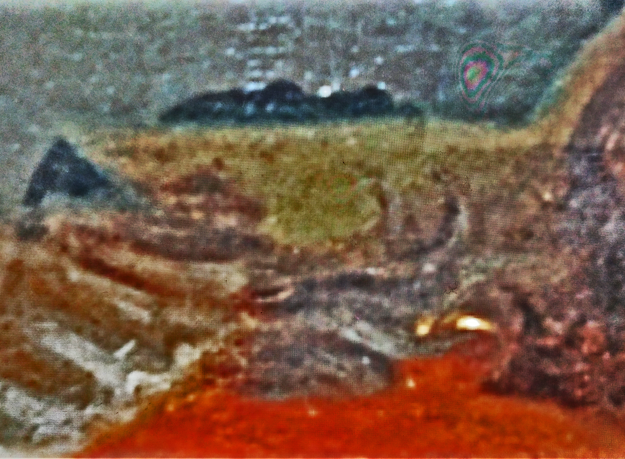 (Fig. 28) An enhanced image showing sky, land and a depiction of the underworld. This scene was carefully composed and hidden in a beautiful portrait. It illustrates that the work of Goya can never be taken at face value