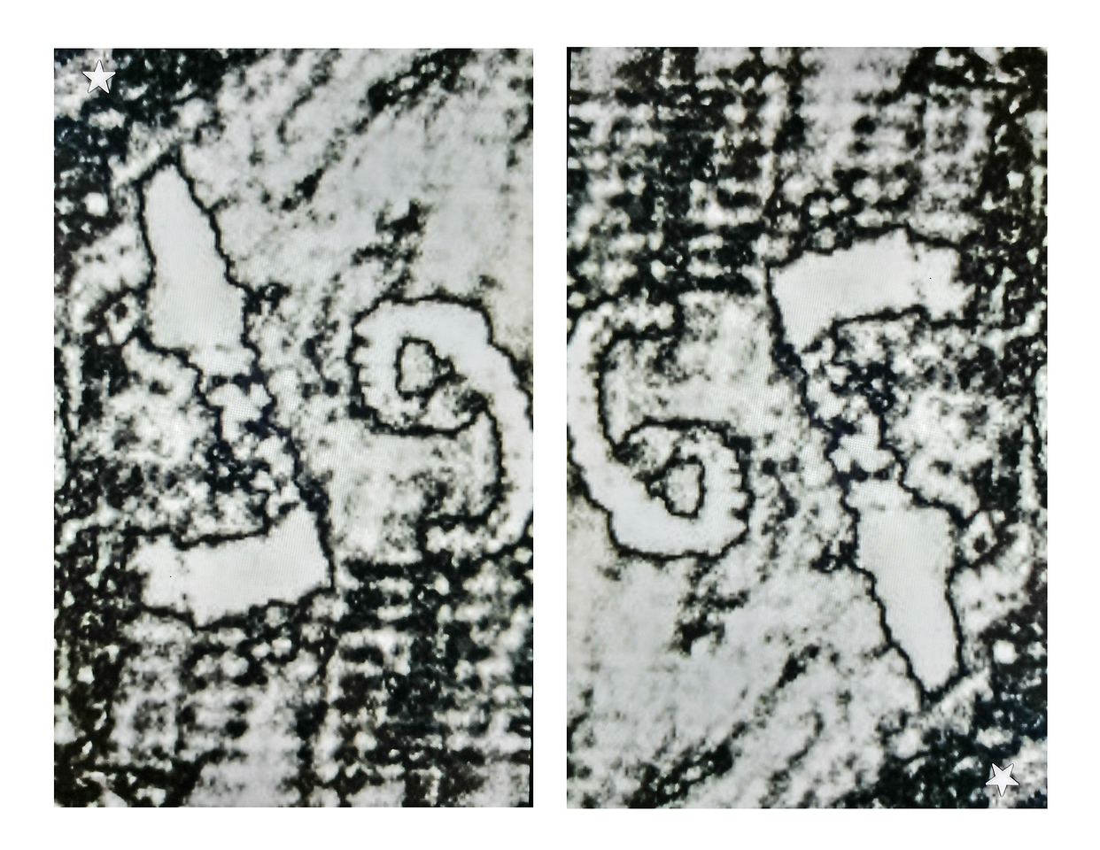 (FIg. 7) The two images above depict two unreversed letters in the inscription. Different faces can be seen depending on the rotation of the image. The comparison above shows the same image turned 180 degrees. Goya's genius is evident in his ability to draw different and distinct images on every plane. Integrating graphic imagery into his letters and topping a letter with a head  was typical of Goya's style.