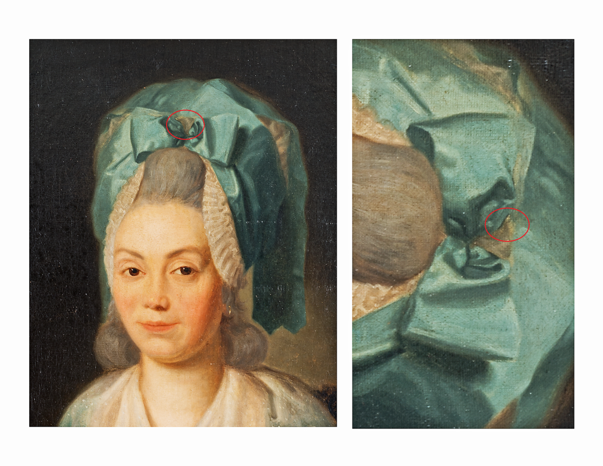 (Fig. 1a)  This image shows a dove in the middle of the Marie Anne Blanchet's hair disguised as a tuft of hair. When the bow is turned 90 degrees to the right a carnival like mask appears from the folds of fabric. Another aspect of Goya's bizarre imagination is that the eyes of the dove which are represented by capital A's morph into the facial features of a devilish creature adjacent to the dove. Who, other than Goya, would depict the dove (which represents the holy spirit) sharing the same facial features as the devil?