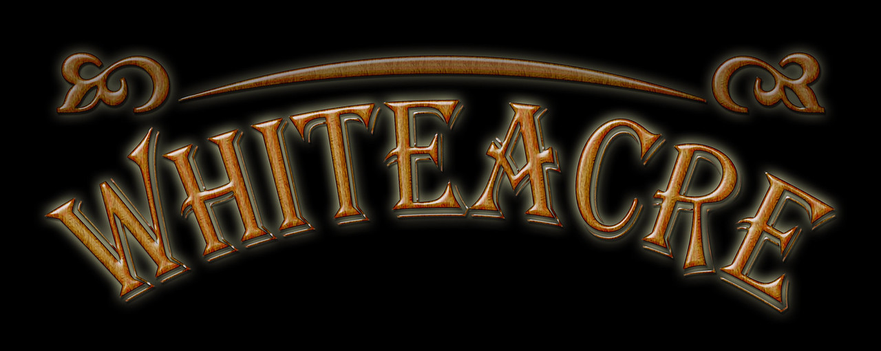 Whiteacre Band logo developed in Adobe Illustrator with wood grain effect and drop shadows in Photoshop