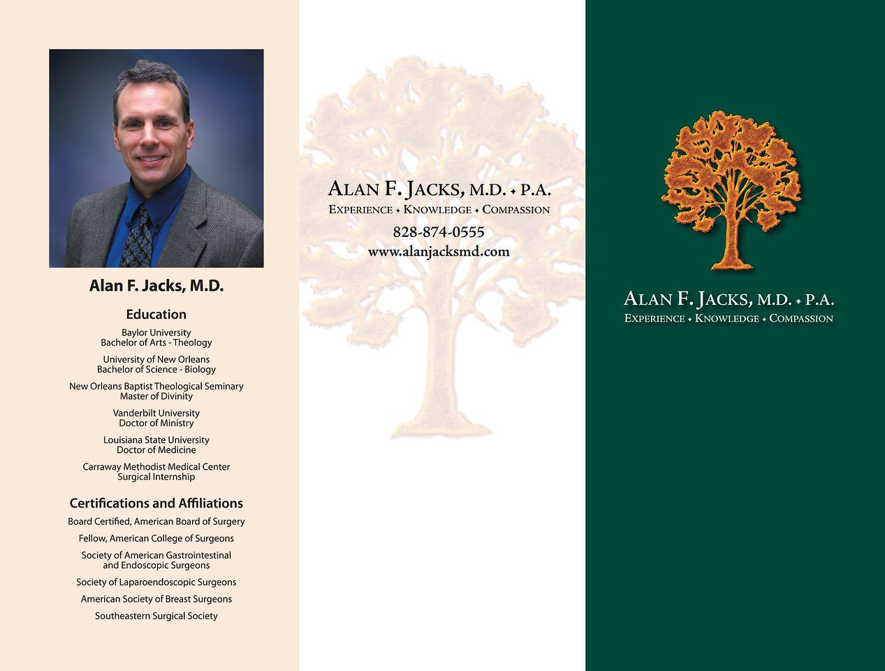 Alan F. Jacks MD brochure and logo design