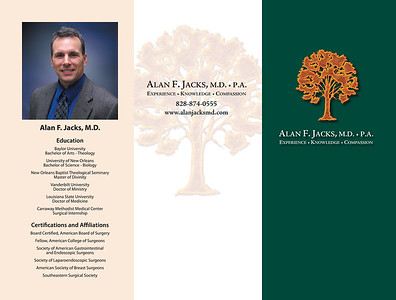 Alan F. Jacks MD brochure and logo design