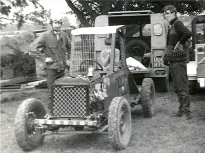 We borrowed Andy's neighbors Landrover to tow the car to our first race at Maisemore near Gloucester UK. At that point Andy had sill not got his full road drivers license!