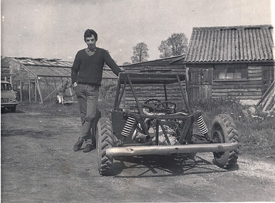 Andy and the new rear engine car he designed and made. This one had a 1500 Ford Cortina engine  with a Volkswagen gearbox turned upside down for more ground clearance.