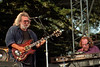 Jerry Garcia and Vince Welnick performing with the Grateful Dead at the Bill Graham Memorial Concert at Golden Gate Park on November 3, 1991.