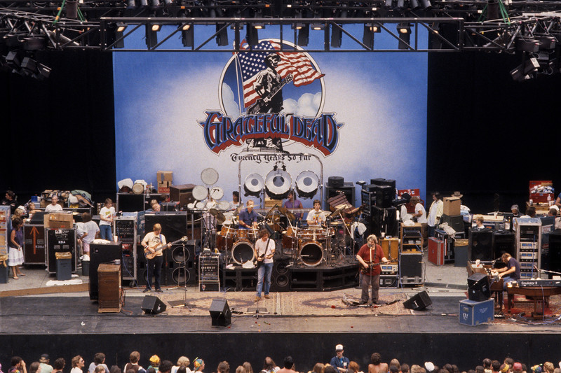 The Grateful Dead performing at the Greek Theater in Berkleley, CA on June 15, 1985.