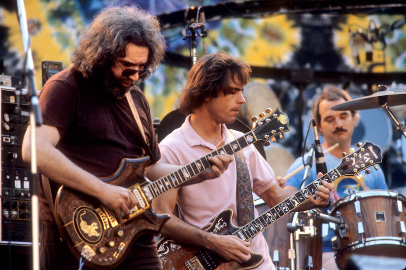 Jerry Garcia, Bob Weir and Bill Kreutzmann performing with the Grateful Dead at the Greek Theater in Berkeley on September 12, 1981.