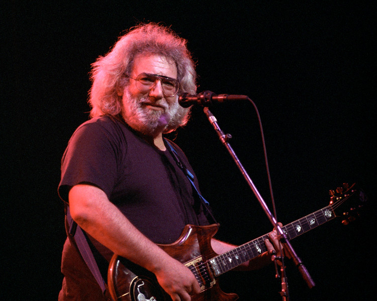 Jerry Garcia performs at the Warfield Theater in San Francisco on January 31, 1991.