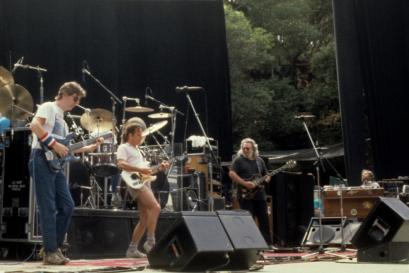The Grateful Dead perfoming at Frost Ampitheater at Stanford University on May 6, 1989. (L_R): Phil Lesh, Bob Weir, Jerry Garcia, Brent Mydland.