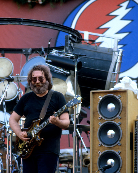 Jerry Garcia performs with the Grateful Dead at Frost Ampitheater on the Stanford Campus in Palo Alto, CA on October 9, 1982.