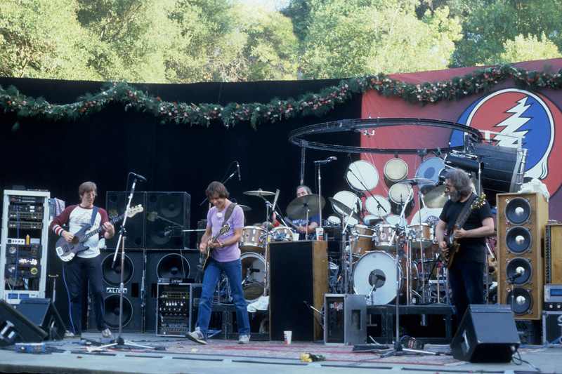 The Grateful Dead perfoming at Frost Ampitheater at Stanford University on October 9, 1982.