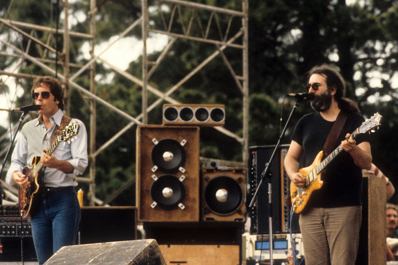 Bob Weir and Jerry Garcia performing with the Grateful Dead at Spartan Stadium in San Jose on April 22, 1979.