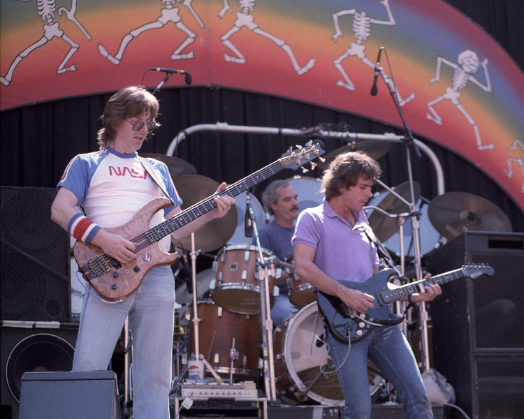 Phil Lesh, Bill Kreutzmann and Bob Weir performing with the Grateful Dead at the Greek Theater in Berkeley, CA on July 15, 1984.