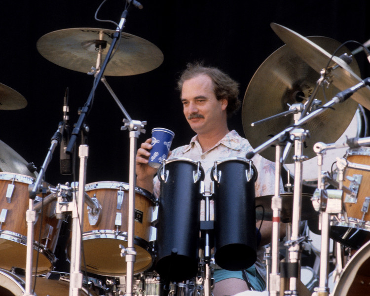 Bill Kreutzmann performing with the Grateful Dead at Frost Ampitheater at Stanford on May 10, 1986.