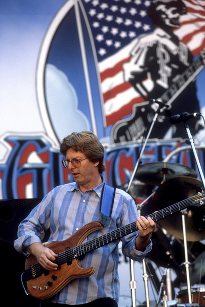 Phil Lesh performing with the Grateful Dead at the Greek Theater in Berkeley, CA on June 16, 1985.
