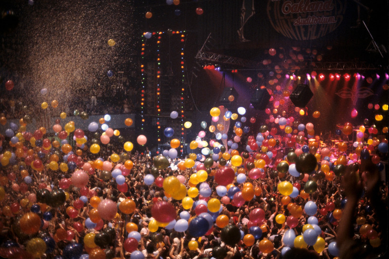 The Grateful Dead celebrate New Year's Eve with a balloon drop at the Oakland Auditorium on December 31, 1979