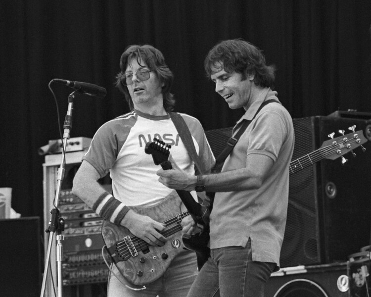 Phil Lesh and Bob Weir performing with the Grateful Dead at the Greek Theater in Berkeley on July 15, 1984.