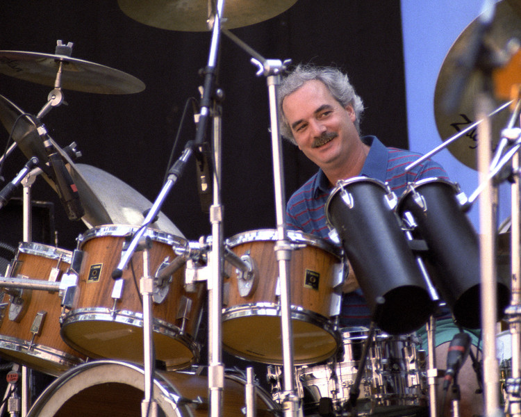 Bill Kreutzmann performing with the Grateful Dead at the Greek Theater in Berkeley, CA on June 16, 1985.