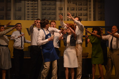 """Performers rehearse in the Gratiot County Players' production of """"How to Succeed in Business Without Really Trying"""" in Alma on Monday. Shows open Friday and run Saturday and Sunday, repeating next weekend, May 20-22. Friday and Saturday shows are at 7 p.m. and Sundays at 2 p.m."""