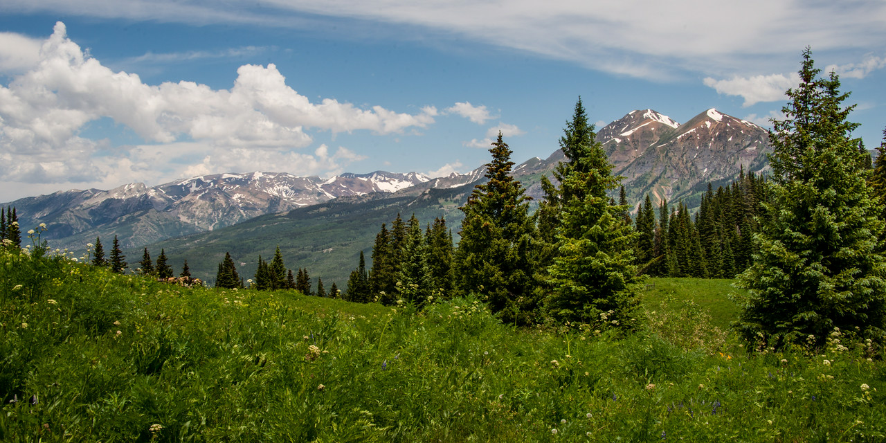 "July 9,<br /> <br /> Living at high altitude provides opportunities.  Here in the Rocky Mountains there is a vast menu of options to go, seek, do.  While in Crested Butte, a mountain town at  8,885 ft.  elevation, we enjoy hiking to higher elevations for views that reward the soul.  These views are carried with us in a mental file and can be revisited when a better view is craved.  Sometimes  a change of view is needed to improve a situation.  <br /> <br /> This is an image from the top of Beckwith Pass just a few miles outside of Crested Butte.  We began this hike compromised.  One of us did not have the proper inserts for hiking boots and had to hike in sandals.  It was a 5 mile hike with an elevation gain of 1400 ft.  It was a challenge  because when one is at a disadvantage the other is mindful and wants to be supportive but not coddling.   We arrived at the top with two very sore feet and an amazing view. The trooper in sandals especially enjoyed the consolation of a beautiful space. Views like this remain in the mind and soul.  After enjoying this beauty we returned to the path for our descent.  Conversation helped to keep the focus not solely on the painful feet.  It was a joy to see the jeep that day.   Time has a way of healing soreness.  This view though is firmly implanted in our souls. I am grateful for that.<br /> <br /> ""When everything feels like an uphill struggle, just think of the view from the top.""~ unknown<br /> <br /> Peace."