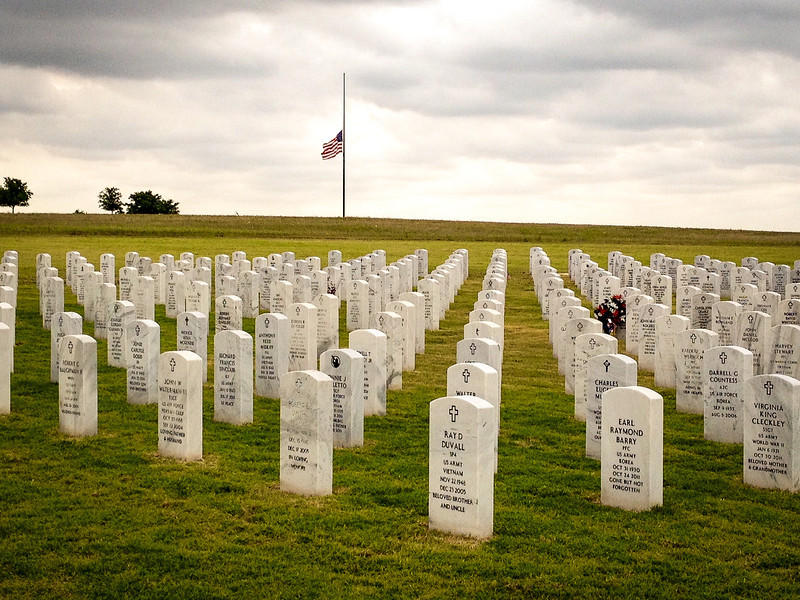 """May 26,<br /> """"To live in hearts we leave behind is not to die."""" <br /> ― Thomas Campbell<br /> <br /> This is a day for remembrance of those who have gone before us, those who served in the military and the many who lost their lives in service. In my youth I would often accompany my mother to a little town in Oklahoma to place a wreath on the grave of my grandparents.  Every Memorial Day for many years we did this and when Bobby came into my life he joined us.  I look back on this time with gratitude for her actions and also for teaching me this act of respect.<br /> This past weekend Bobby and I visited his parents and on the way stopped at the National Cemetery where my parents are buried.  It was an honor to lay flowers at their stones. I was filled with great emotion and many memories. I was thankful to return this respectful act back towards my mother and father.   <br /> I am grateful for loved ones who have died before me.  I am grateful for those who served so valiantly.  And with highest respect those who lost their lives in the line of duty for their country.  <br /> Mr. Beecher, an author and clergy wrote this closing quote I use referring to the dead Union soldiers who fought in the Civil War.  I think it is timeless.<br /> """"They hover as a cloud of witnesses above this Nation."""" ~Henry Ward Beecher<br /> <br /> Peace."""