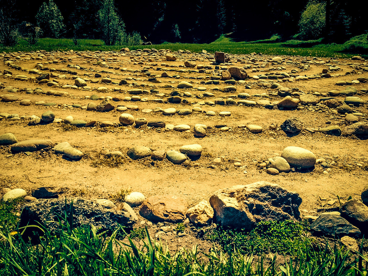 "June 7,<br /> <br /> I had the opportunity to walk a labyrinth this week. There are people who travel far to walk one and fortunately, Evergreen Episcopal Church built one for all to use.  Our Bible study group met there for a fitting finale to our study of Barbara Brown Taylor's book, ""Altars in the World"".  <br /> <br /> Labyrinths date back to ancient times.  During the Middle Ages, if one could not go on a pilgrimage to Jerusalem, walking a labyrinth in a church was the best substitute for this spiritual experience.  Today labyrinths can be used as walking meditations in order to focus the mind and provide a spiritual connection.  <br /> Labyrinths have a beginning and a center.  Once the center is reached, the walker returns from where they came to reach the beginning or exit.  There are many ways to walk this ancient pattern. <br /> One may focus thoughts on a question or concern.  One may walk with a quiet mind, sensing the pattern.  One may walk it with some of its symbolic meanings as seeds of thoughts. One may walk it with a heavy heart in need of peace.  There is no single right way to follow the path.<br /> <br /> It was a beautiful experience and one that I will do again.  I am filled with sheer thankfulness that Evergreen has one and that our church will be building one soon.  It is a blessing to live in such a community. <br />   ""Nothing is worth more than this day."" ~ Johann Wolfgang von Goethe<br /> Peace"