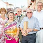 Zum 80. Geburtstag von Franz Winkler gratulierten Gemeinderätin Heidegund Niederer, Ilse Jöris, Gemeinderat Franz Ofner und Bürgermeister Thomas Widrich. <br /> Foto: Stadt Melk / Gleiß