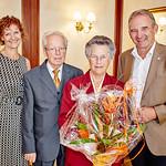 Zum 75. Geburtstag von Adelinde Wieseneder gratulierten im August Gemeinderätin Heidegund Niederer (v. l.), Hermann Wieseneder und Vizebürgermeister Wolfgang Kaufmann. <br /> Foto: Stadt Melk / Gleiß