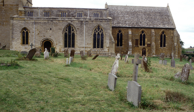 Church and graves at Tredington England<br /> 2004