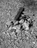 Downed cross in Bullfrog Mine Cemetery near Rhyolite (ghost town) Nevada.  2007.