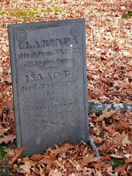 Brother and sister grave in Bedford, NH<br /> Dec 2009