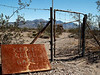 Informal gates of the Bullfrog Mine Cemetery near Rhyolite (ghost town) Nevada.  2007.
