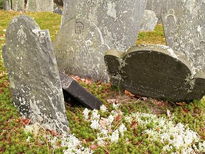 Tumbled gravestones in Pinecrest Cemetery, Litchfield NH Dec 2009