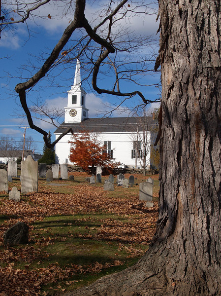 Tree, graves and church - Chester Village Cemetery, Chester NH<br /> Nov 2009