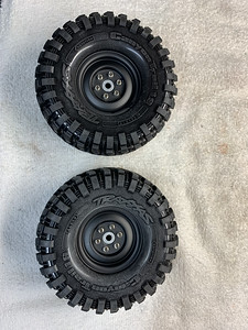Gmade sr03 1.9 steel whills with Traxxas Caynon tires mounted