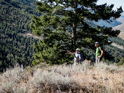 Looking back down towards the East Fork valley, Terry and Mark reconoiter.