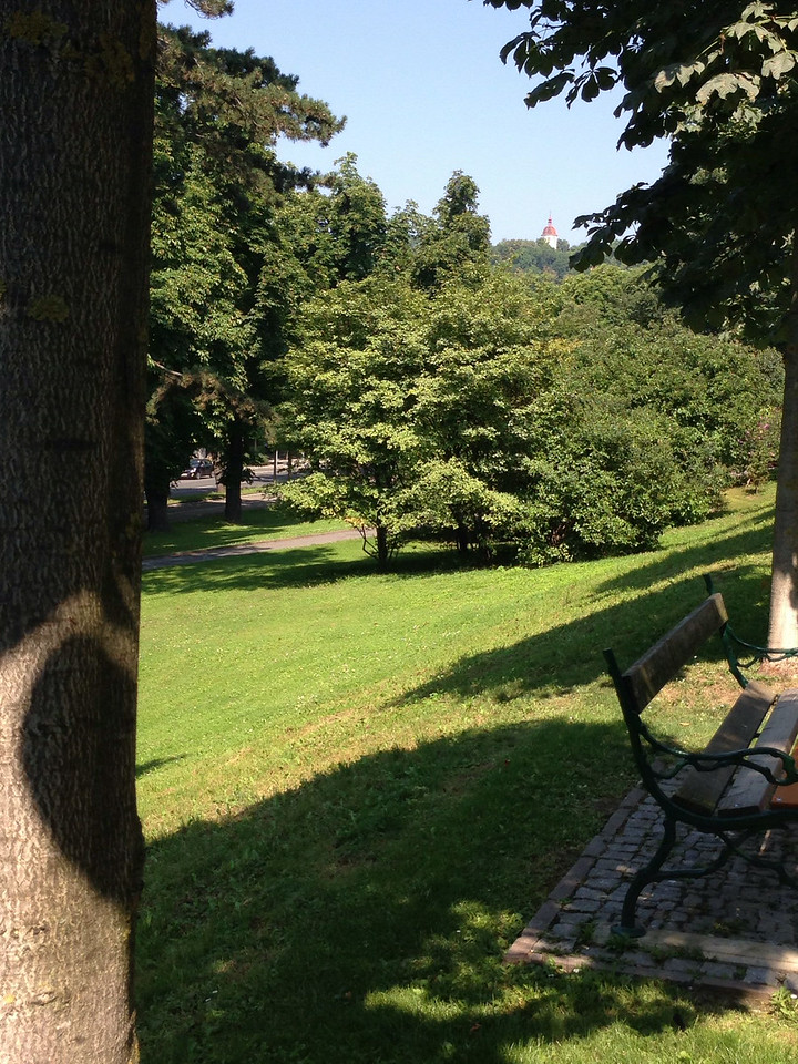 Blick durch den Stadtpark auf den Glockenturm