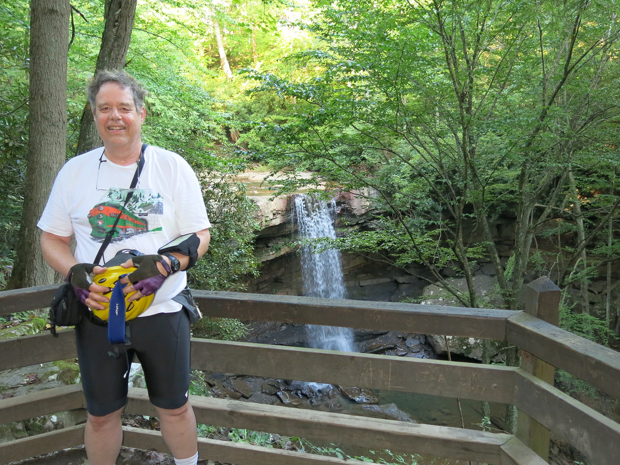 Martin in front of Cucumber Falls